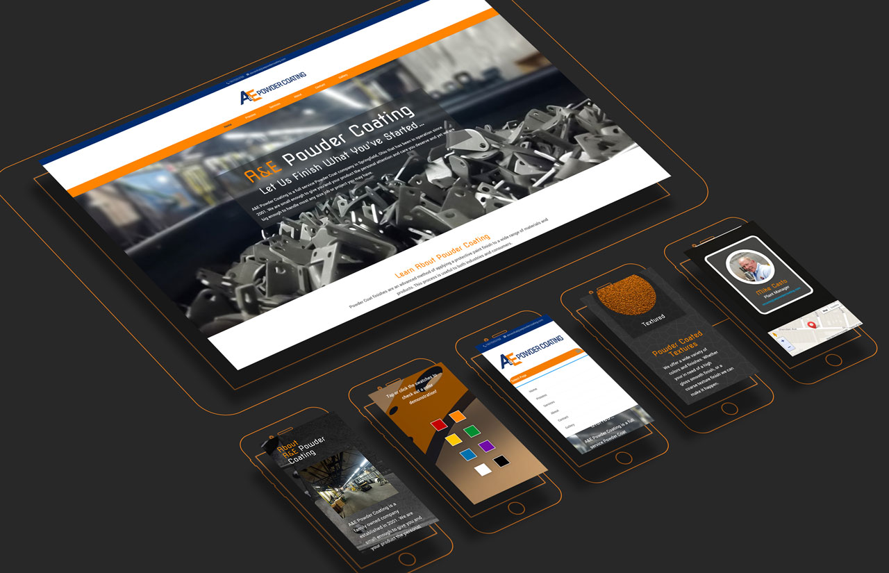 A&E Powder Coating Website Mockup