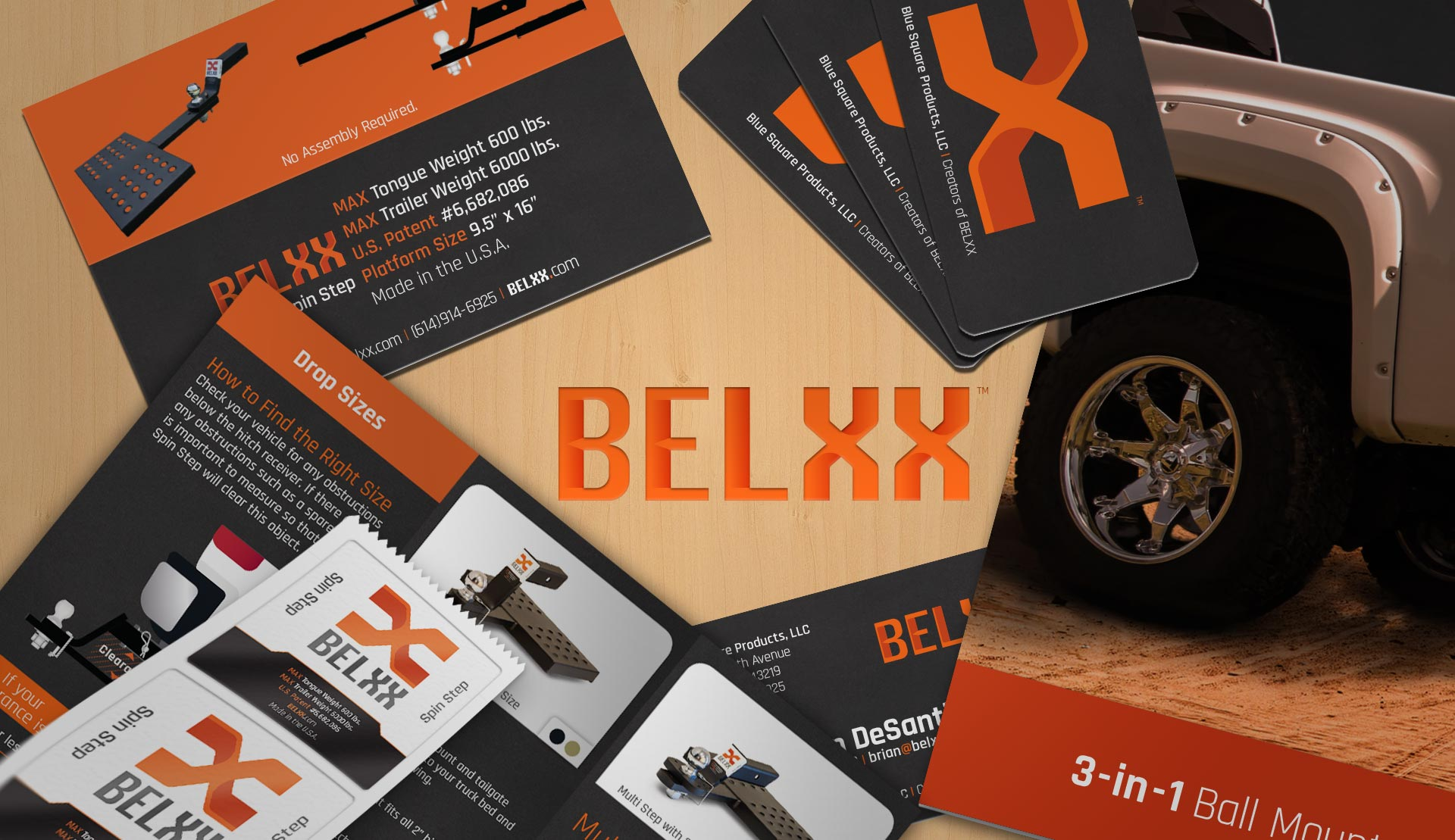 Belxx branding graphic composed of multiple marketing pieces.