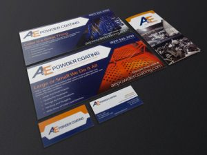 A&E Powder Coating Direct-Mail, Brochure, and Business Cards