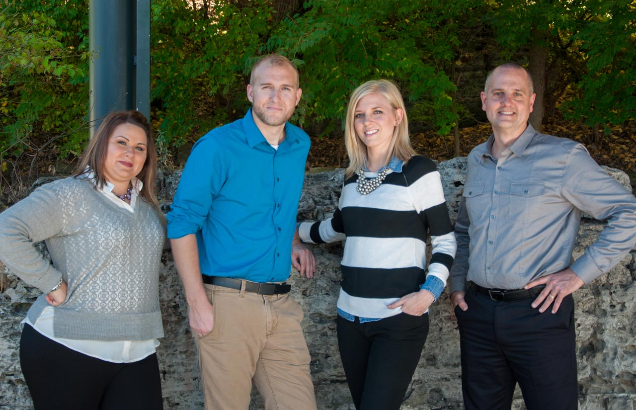 Holmes Marketing Team Members from left to right, Heather Leifheit, Mike England, Karleigh Spahr, Kevin Holmes