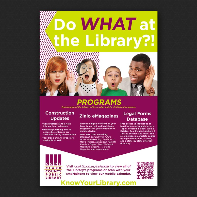 Poster Showing Curious People and Listing Library Information