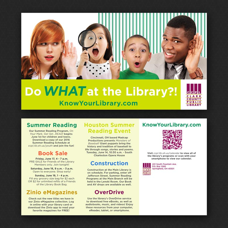 Curious Faces and Library Programs on the Front and Back of a Sample Postcard