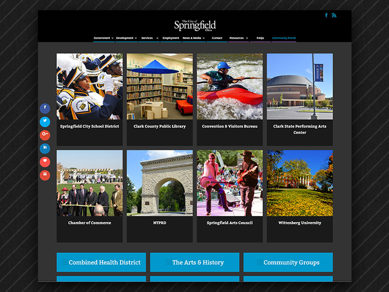 Community Portal on the City of Springfield Website.