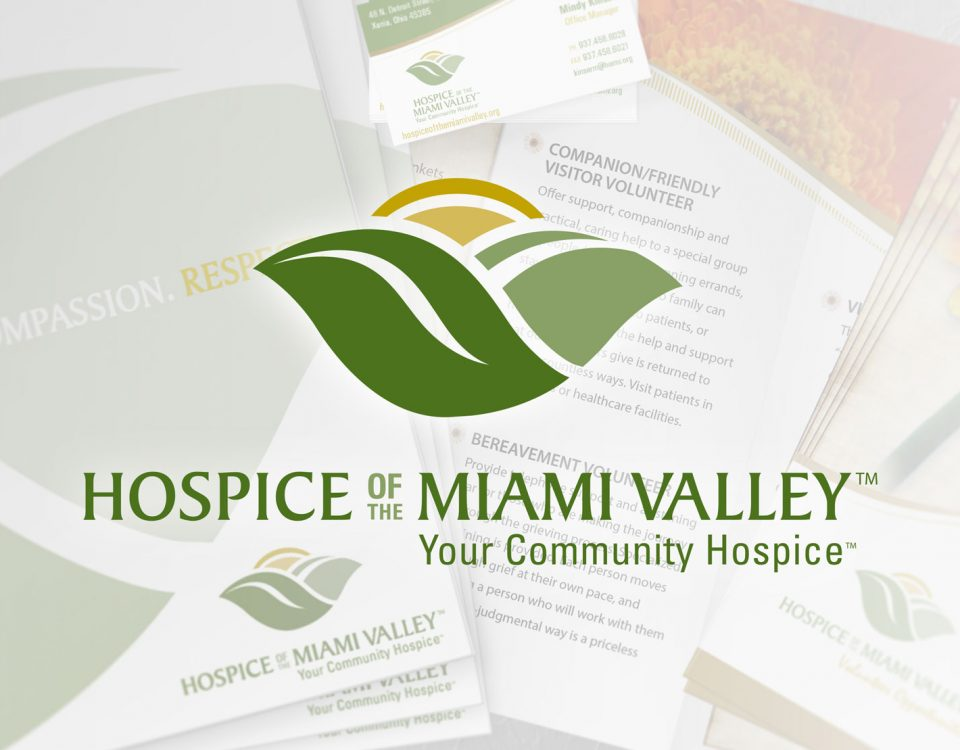 Hospice of the Miami Valley Logo Layered on Top of a Collage of Faded Hospice Printed Materials