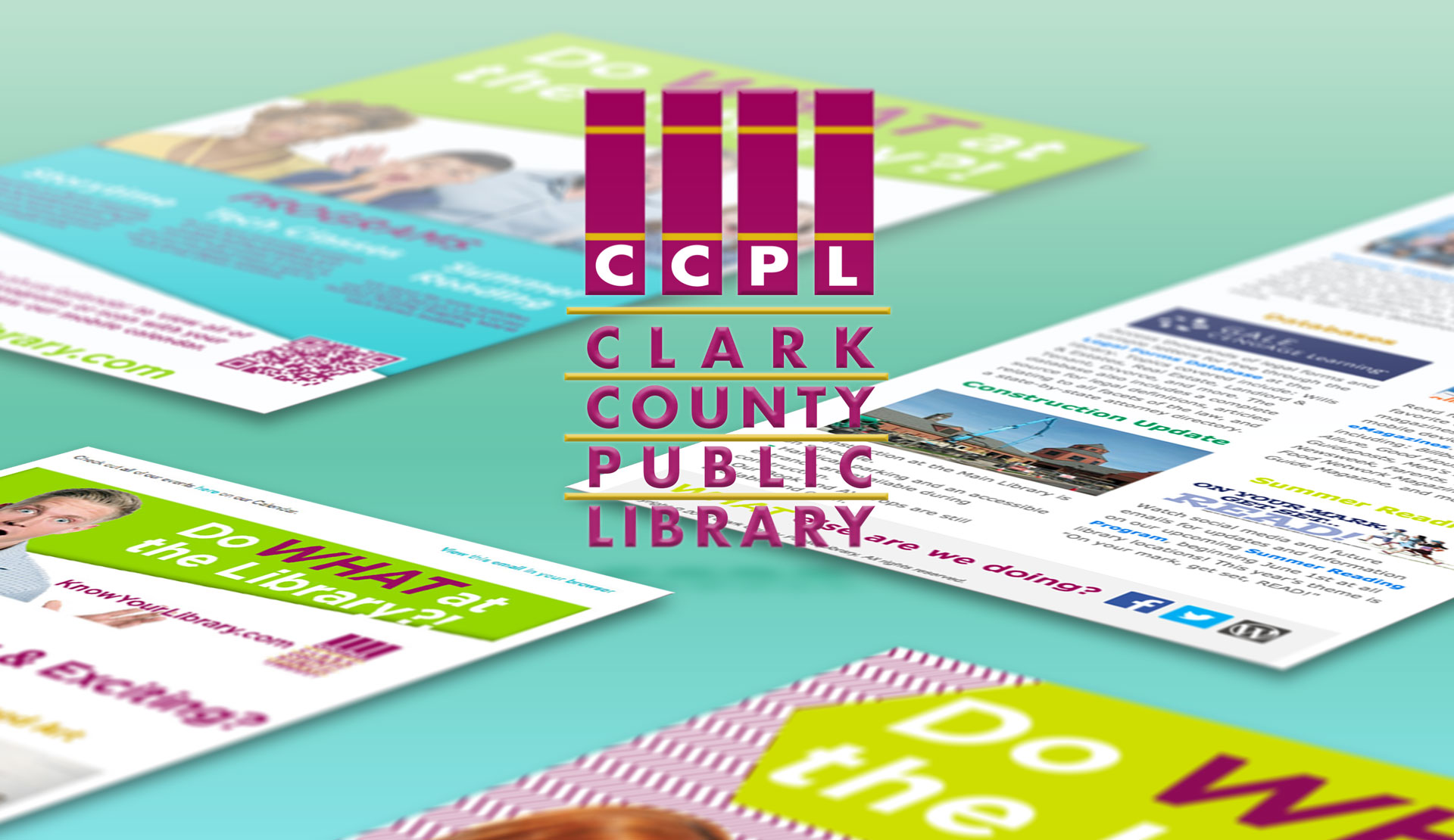 Clark County Public Library Logo and Creative Collage on a Mint Green Gradient Background