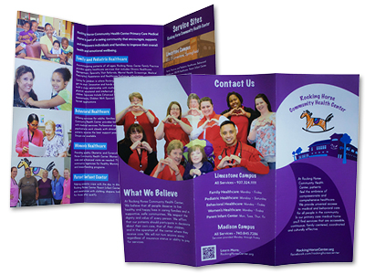 Front and Back Views of a Brochure Designed for Rocking Horse Community Health Center