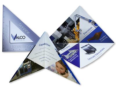 Multiple Views of a Custom Die-cut Brochure Designed for Valco Industries, Inc.