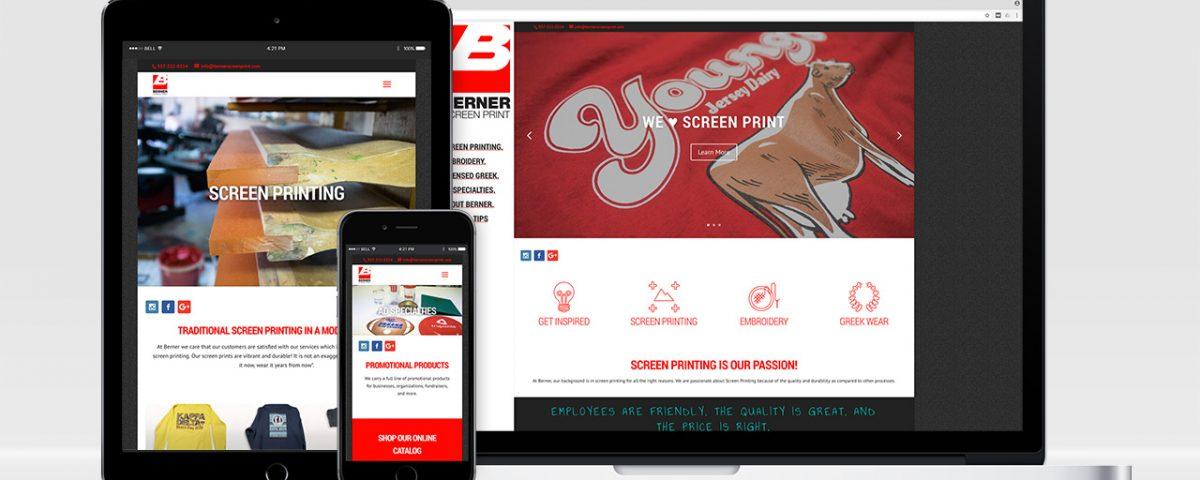 Berner Screen Print Website shown on desktop, tablet, and mobile.