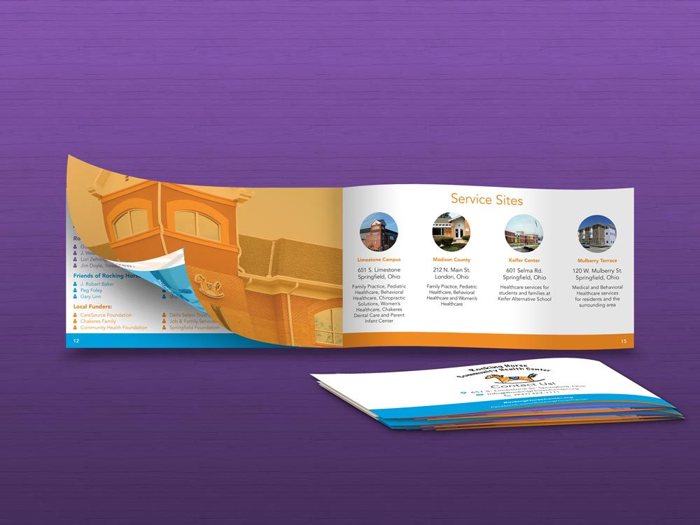 Annual Report mock-up and rear view of the booklet closed.
