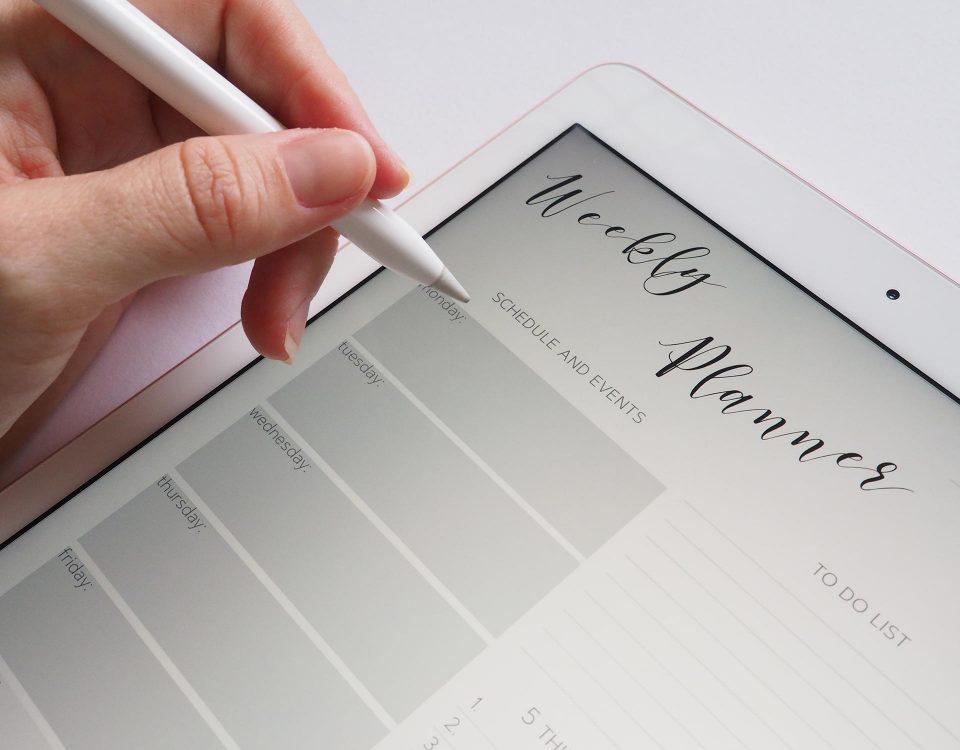 hand writing in digital planner