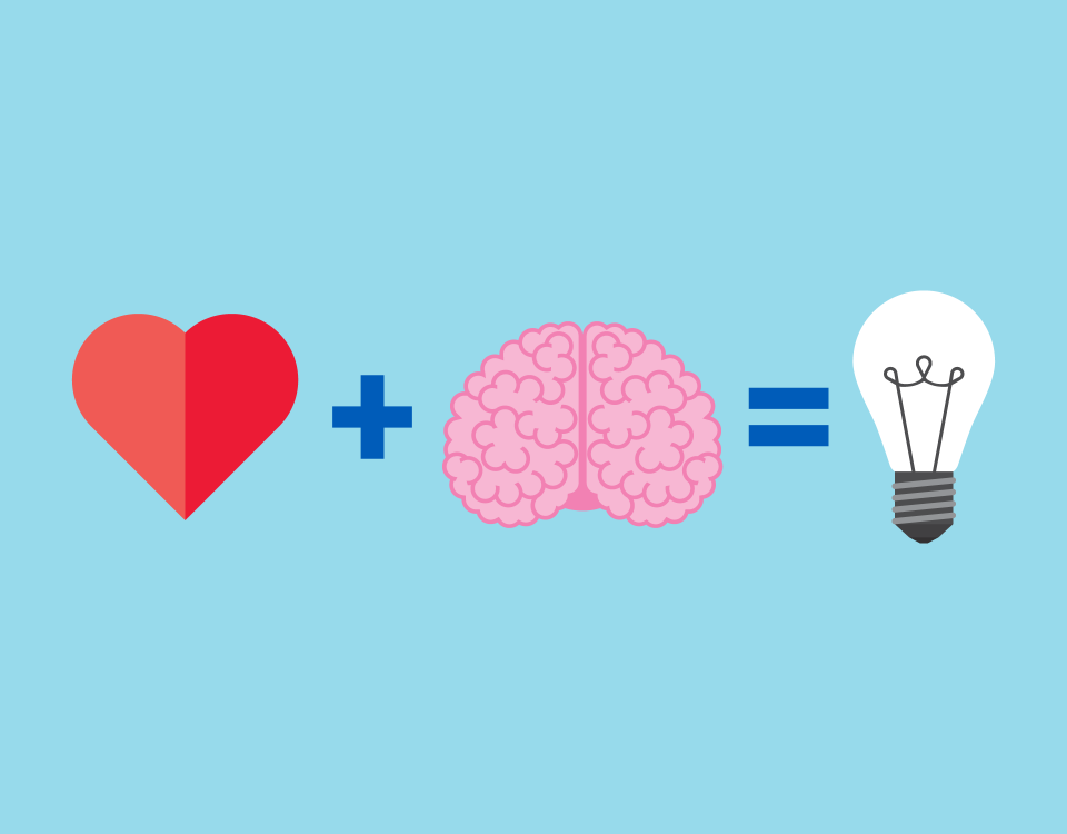 illustration heart plus brain equals lightbulb