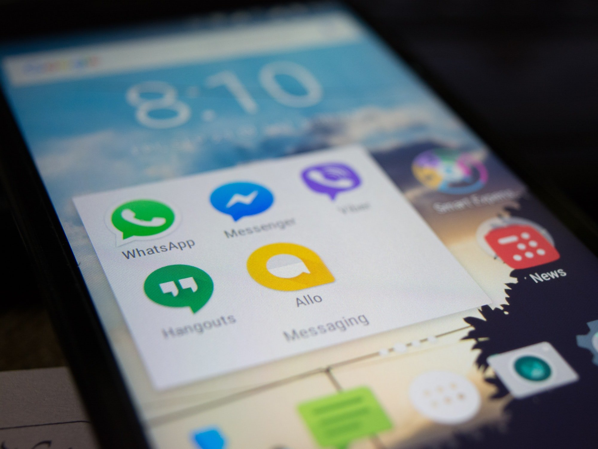 Cell phone with messaging apps