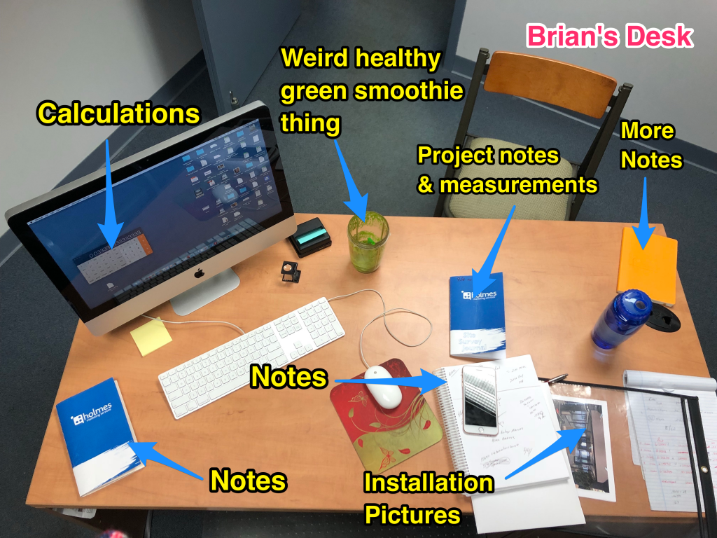 Brian's desk with labels