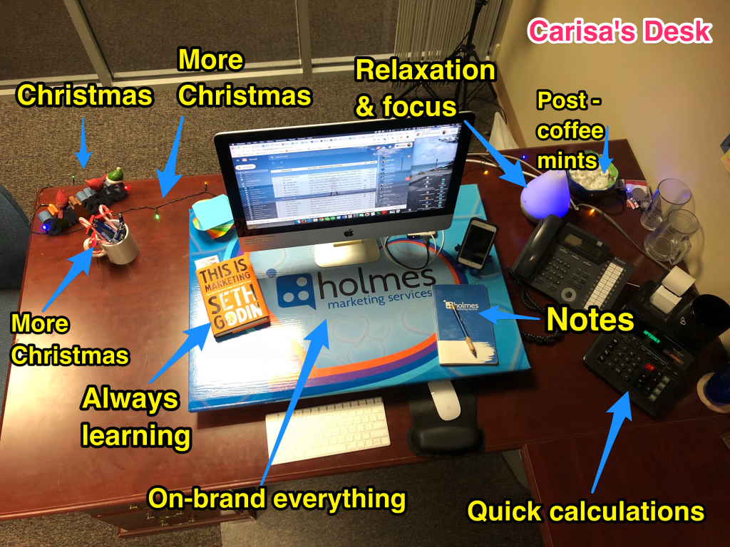 Carisa's desk with labels