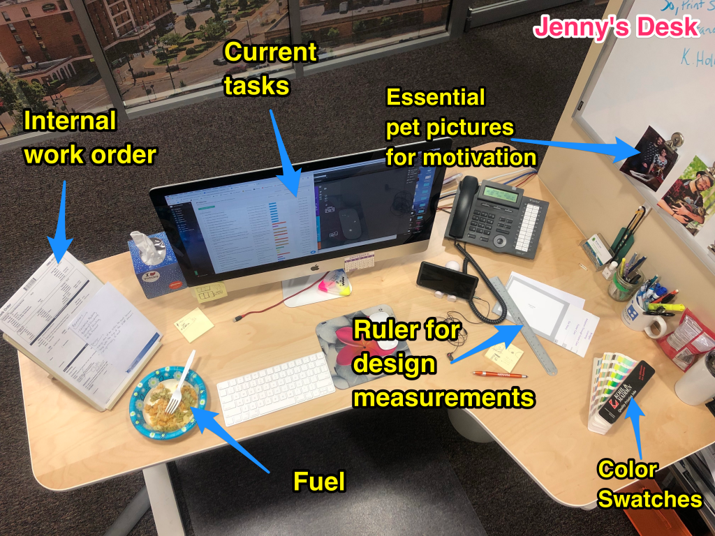 Jenny's desk with labels