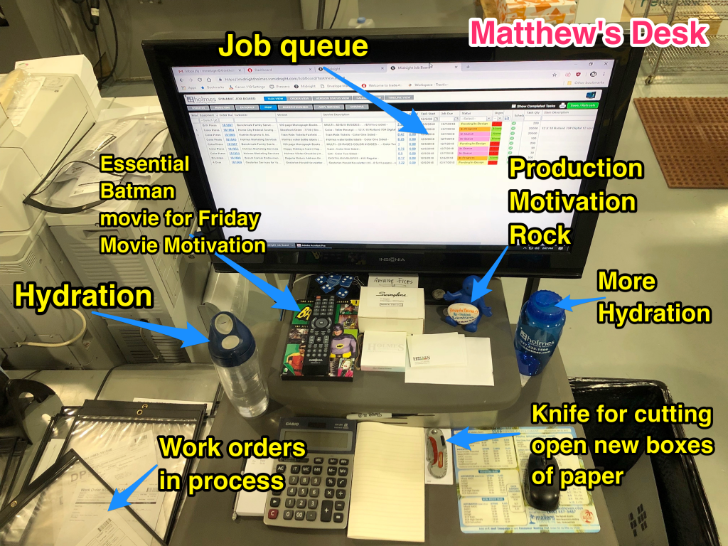 Matthew's desk with labels